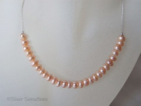 Pastel Peach Pink Cultured Freshwater Rondelle Pearls & Sterling Silver Chain Necklace